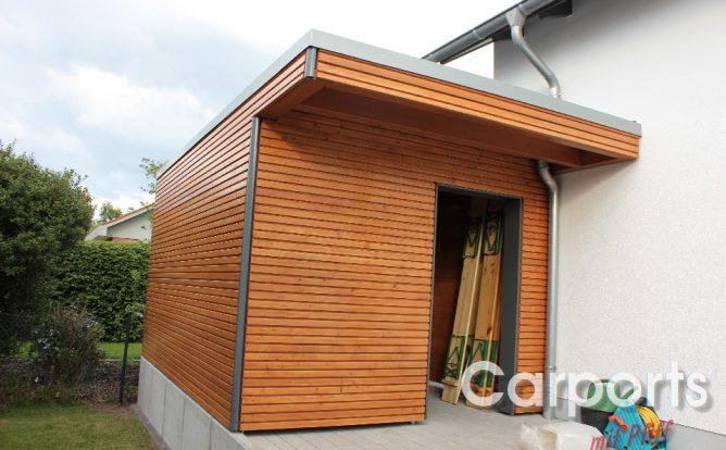 Abstellraum Gartenhaus Bauhaus mit Fichte doppel Rhombo Profilen lasiert