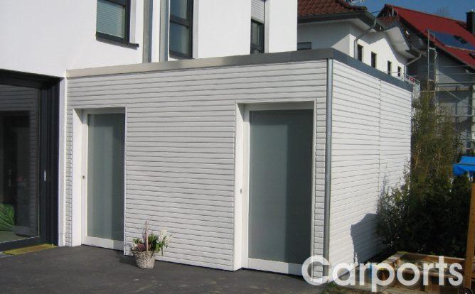 Abstellraum Gartenhaus Bauhaus mit Fichte doppel Rhombo Profilen lasiert in weiß