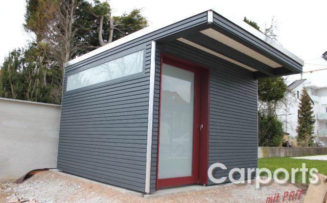 Abstellraum Gartenhaus Bauhaus mit Fichte doppel Rhombo Profilen lasiert in grau