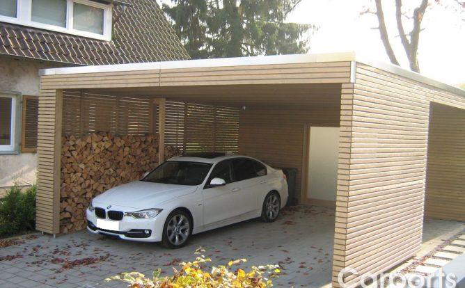 Carport Bauhaus Doppel Rhombo Seitenwand auf Lücke mit Rhomboid