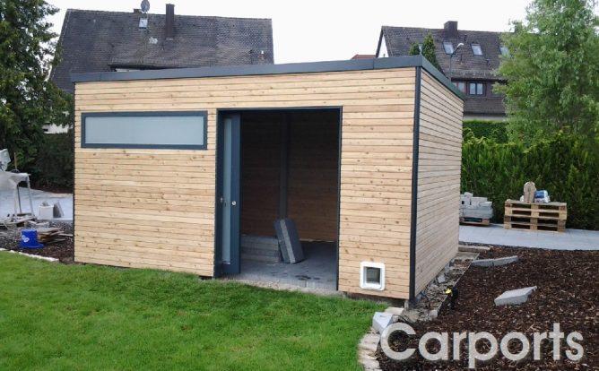 Abstellraum Gartenhaus Bauhaus mit Lärche doppel Rhombo Profilen unbehandelt
