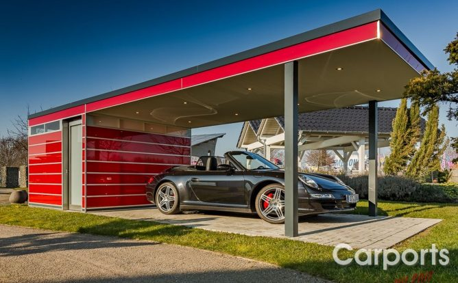 Carport Enzo mit Abstellraum und Porsche
