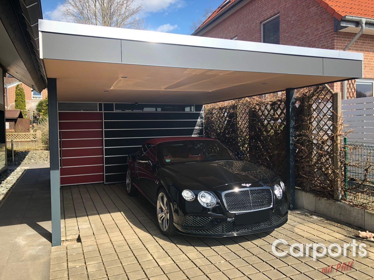 Carport HPL mit Abstellraum und verkleideter Deckenunterkonstruktion