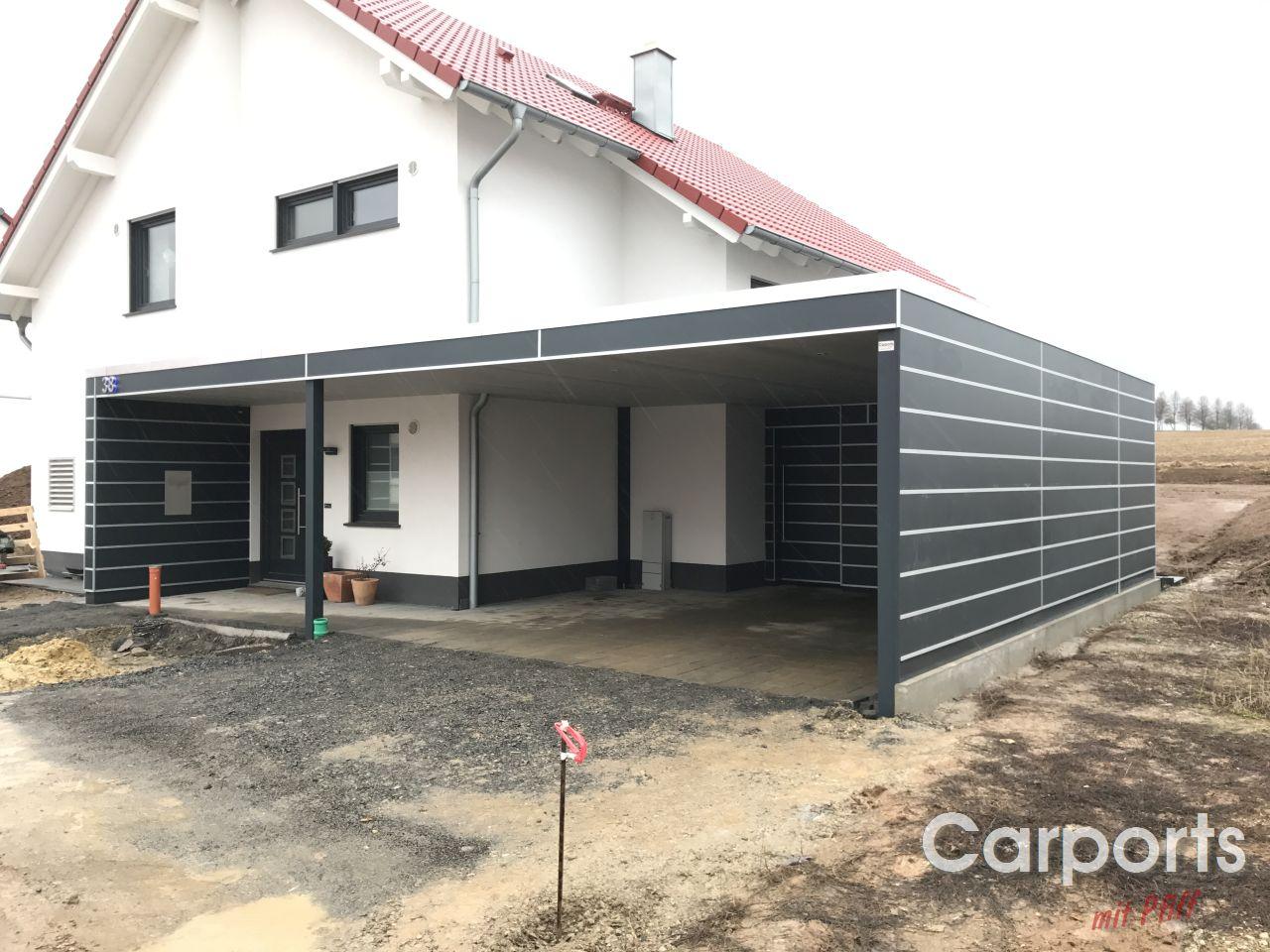 Carport Bauhaus Hpl Mit Abstellraum Und Hausturuberdachung
