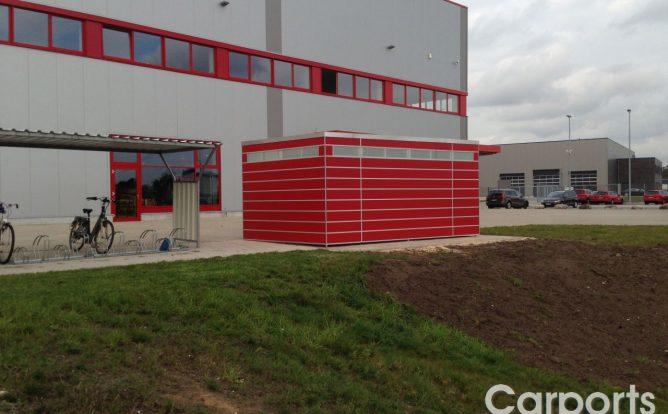 Abstellraum Hütte Bauhaus HPL Trespa Rot