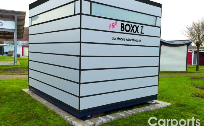 Boxx I der mobile Abstellraum mit Trespa verkleidet in Lichtgrau