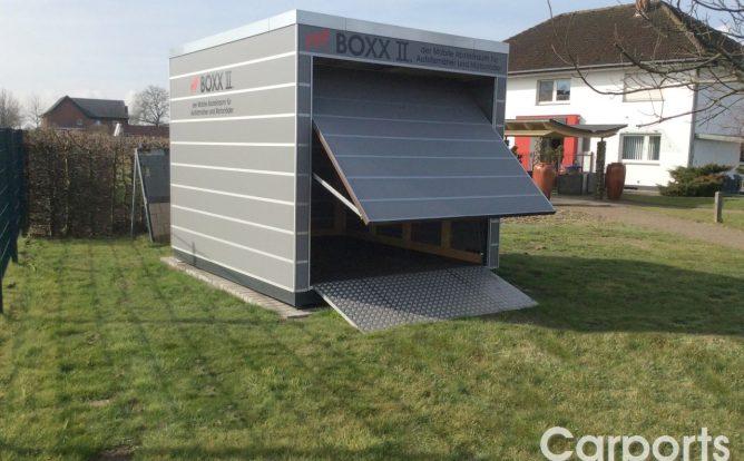 Boxx II der mobile Abstellraum für Motorräder