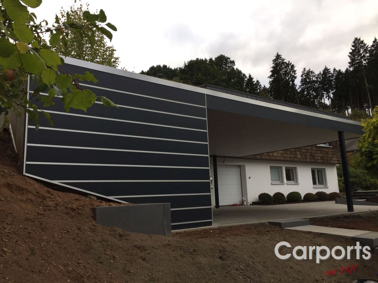 doppelcarport carport bauhaus mit abstellraum aus hpl trespa. Black Bedroom Furniture Sets. Home Design Ideas
