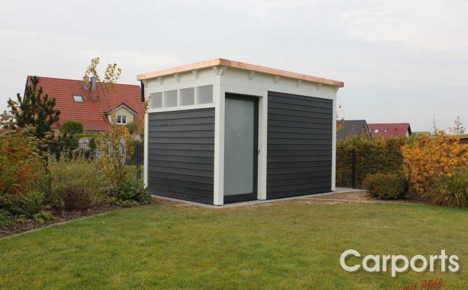 Abstellraum Gartenhaus Classic mit Dachüberstand und Conos und einer Kupfer-Blende