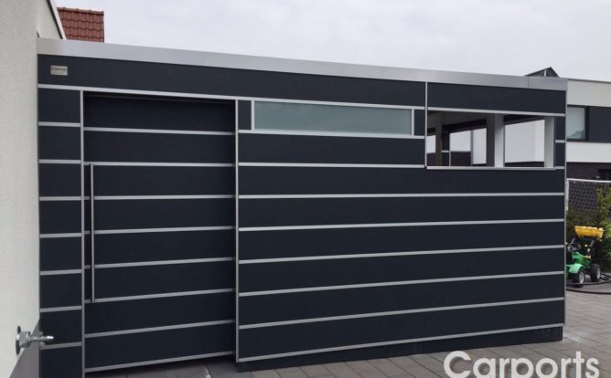 Bauhaus Abstellraum Trespa mit Mülleinhausung