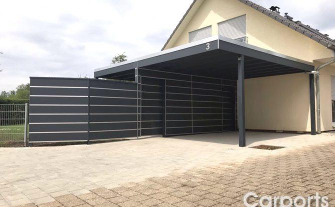 Carport Trespa mit Abstellraum und Zaun
