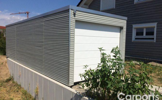 Carport Bauhaus Doppel Rhombo seitenwände mit Rhomboid auf Lücke und Hörmann Sektionaltor