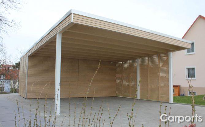 Bauhauscarport Carport Doppel Rhombo mit Abstellraum nach maß Seitenwand mit Rhomboid auf Lücke
