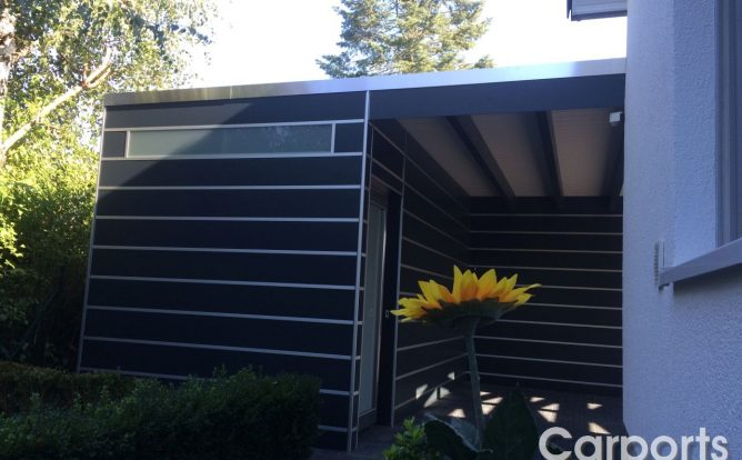 Doppelcarport Carport Bauhaus mit Abstellraum aus HPL / Trespa