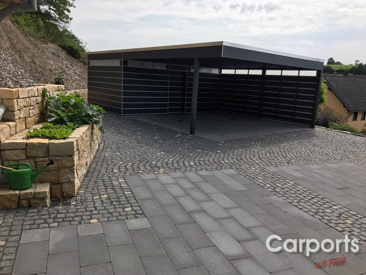 carport bauhaus hpl mit abstellraum und verkleideter seitenwand carports mit pfiff. Black Bedroom Furniture Sets. Home Design Ideas