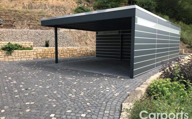 Carport HPL mit Abstellraum und Seitenwand mit Trespa verkleidet
