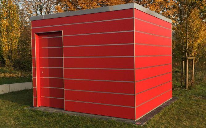 Abstellraum Bauhaus Kubisch mit HPL Trespa rot