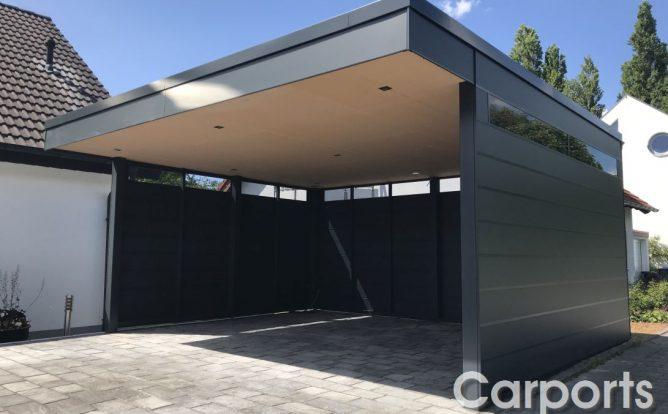 Carport HPL (Batman) 3-Seitig geschlossen.