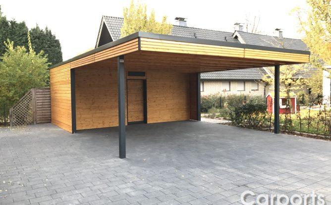 Bauhauscarport Carport Doppel Rhombo mit Abstellraum nach maß