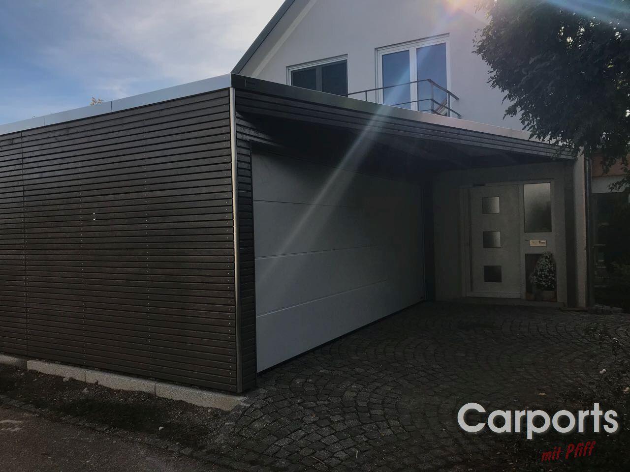 Carport bauhaus rhombo mit abstellraum und h rmann sektionaltor carports mit pfiff - Carport bauhaus ...