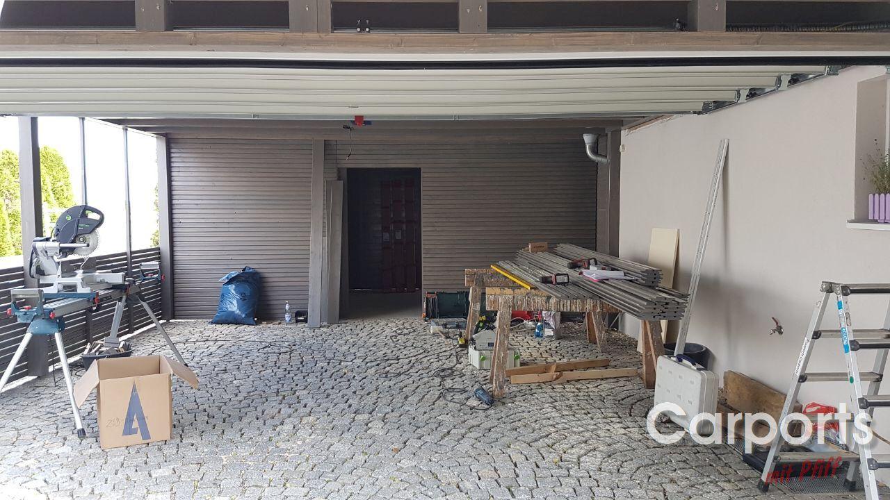 carport bauhaus rhombo mit abstellraum und h rmann. Black Bedroom Furniture Sets. Home Design Ideas